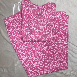 Lilly Pulitzer Pink Bow Design Pajamas Size Medium